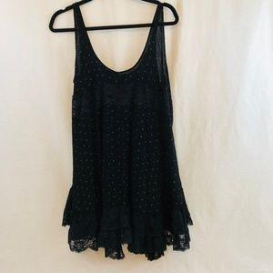 Free People Black Lace She Swings Slip Dress Tunic